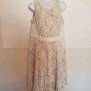 White and Cream Lace Julian Taylor Midi Dress